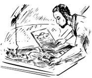Mechaniker mit einem Computer führt Fahrzeugdiagnosen durch lizenzfreie abbildung