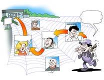 Mechaniker mit einem Netz von Kontakten Lizenzfreie Stockbilder