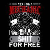 Mechaniker Quote und Sprechen Bestes für grafische Waren wie Plakat, T-Shirt und anderes vektor abbildung