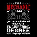 Mechaniker Quote und Sprechen Bestes für grafische Waren wie Plakat, T-Shirt und anderes stock abbildung