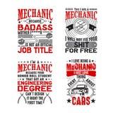 Mechaniker Quote und Sprechen-Satz, gut für Druck stock abbildung