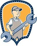 Mechaniker-Spanner Wrench Shield-Karikatur Lizenzfreies Stockfoto