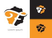 Mechaniker und Logodesign des ReparaturDienstbriefes F, f-Buchstabe in der Gangvektorikone stock abbildung