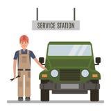 Mechaniker und repariert dem Auto stockfotos
