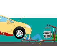 Mechaniker unter dem Auto stock abbildung