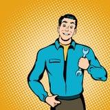 Mechanikerkonzept, Comicsart Stockbilder