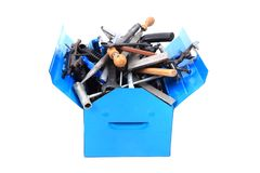 Mechanikerwerkzeuge vom Schlosser im blauen Kasten Stockfoto