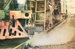 Mechanisch gedeelte van stoomlocomotief Stock Fotografie