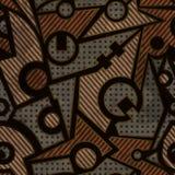 Mechanisch geometrisch naadloos patroon met roesteffect Royalty-vrije Stock Foto's