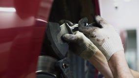 Mechanisch het stootkussensysteem van de veranderingenrem op het autoclose-up stock footage
