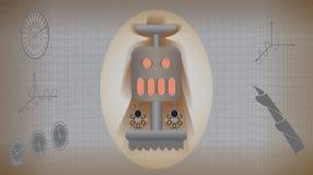 Mechanisch retro monster met veulens in infographicsstijl vector illustratie
