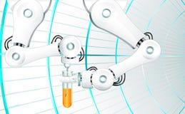 Mechanisch wapen met een naald die oranje vloeistof in een laboratoriumreageerbuis inspuiten vector illustratie