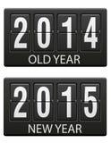 Mechanische Anzeigetafel alt und die Vektorillustration des neuen Jahres Stockbild