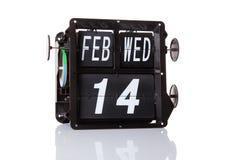 Mechanische geïsoleerde kalender retro datum Stock Foto