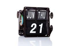 Mechanische geïsoleerde kalender retro datum Stock Fotografie