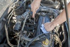 Mechanische het herstellen motor openlucht Stock Fotografie