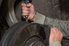 Mechanische het herstellen rem in een auto Stock Afbeelding