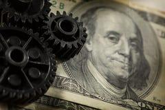 Mechanische pallen met dollar Royalty-vrije Stock Foto's