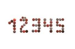1 mechanische Stelle 2 3 4 5 Weinlesegangzahnräder steampunk Art nummeriert eine zwei drei vier fünf Rostiges Eisenrot Stockfotos