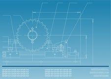 Mechanische tekeningen op een blauwe achtergrond Royalty-vrije Stock Afbeeldingen