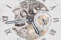 Mechanische Uhr-Konzept-Skizze stockfotos