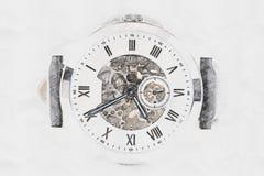 Mechanische Uhr-Konzept-Skizze lizenzfreies stockfoto