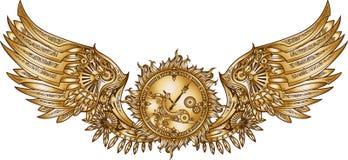 Mechanische vleugels in steampunkstijl met uurwerk stock illustratie