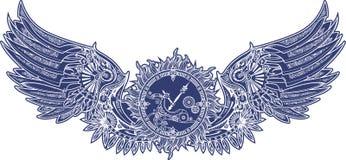 Mechanische vleugels in steampunkstijl met uurwerk Blauw vector illustratie