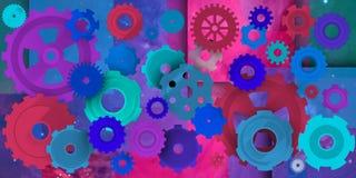 Mechanische wereld in coloristsamenstelling Stock Afbeelding
