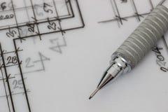 Mechanischer Bleistift auf Zeichnung Lizenzfreie Stockbilder