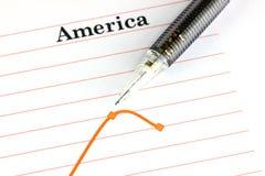 Mechanischer Bleistiftpunkt zum Punkt auf Amerika-Diagramm. Stockfoto