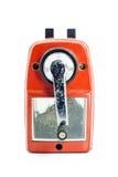Mechanischer Bleistiftspitzer des Bleistifts auf dem weißen Hintergrund Stockbild