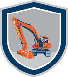 Mechanischer Digger Excavator Retro Shield Lizenzfreies Stockfoto