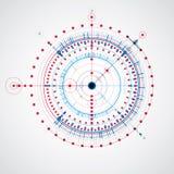 Mechanischer Entwurf, technische Konstruktionszeichnung des blauen Vektors mit Kreisen stock abbildung