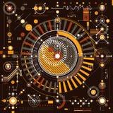Mechanischer Entwurf, technische Konstruktionszeichnung des Vektors mit geometrischer Gleichheit Stockfotografie