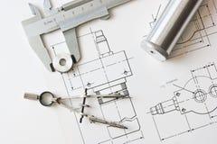 Mechanischer Entwurf und Schieber Stockbilder