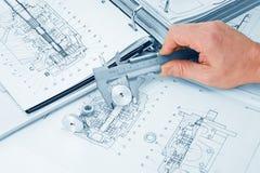 Mechanischer Entwurf und Schieber Stockbild