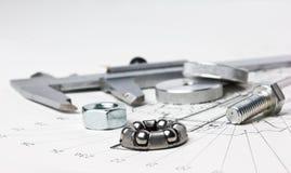 Mechanischer Entwurf und Schieber Stockfotografie