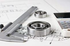 Mechanischer Entwurf und Schieber Lizenzfreie Stockfotografie