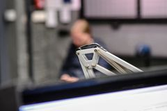 Mechanischer Metalldetailabschluß oben stockfoto
