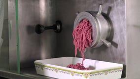 Mechanischer Zerhacker, gehacktes Rindfleisch produzierend stock video