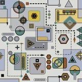 Mechanisches farbiges nahtloses Muster II Stockfotografie