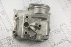 Mechanisches Teil auf Konstruktionszeichnung Lizenzfreies Stockfoto