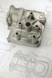 Mechanisches Teil auf Konstruktionszeichnung Lizenzfreies Stockbild