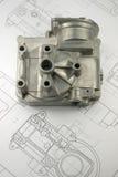 Mechanisches Teil auf Konstruktionszeichnung Lizenzfreie Stockfotografie