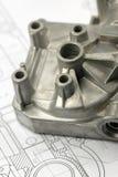Mechanisches Teil auf Konstruktionszeichnung Stockbild