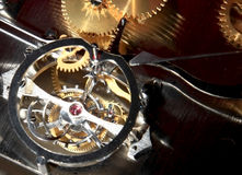 Mechanism. Details of the mechanism of a mechanical clock Royalty Free Stock Images