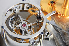 Mechanism. Details of the mechanism of a mechanical clock Royalty Free Stock Image