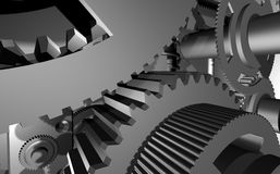 Mechanism. The three-dimensional model of an abstract arrangement of a gear Royalty Free Stock Images