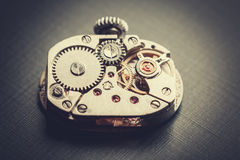 Mechanism antique vintage wrist watch Stock Photo